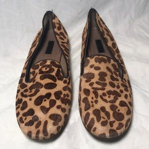 ECCO Faux fur/Animal print flats/black trim/11